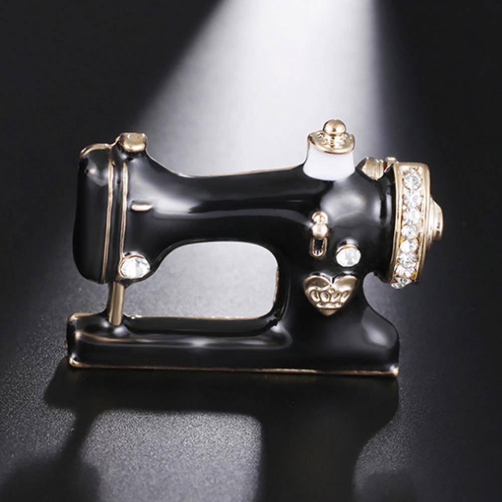 f0eaf72fc 2018 Charm Women Girls Sewing Machine Brooch Pin Black Enamel ...