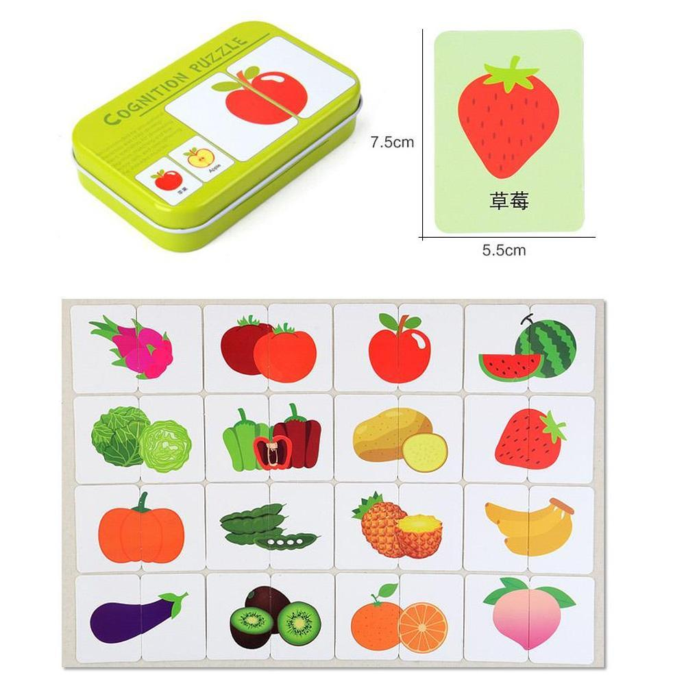 32pcs.Montessori Cognitive Card Baby Learn English Puzzle Kids Educationa Y0Q3
