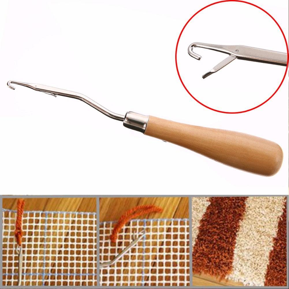 Making F0Z2 Wooden Crochet Needle Latch Hook Puller For Canvas Mats Rug Kit