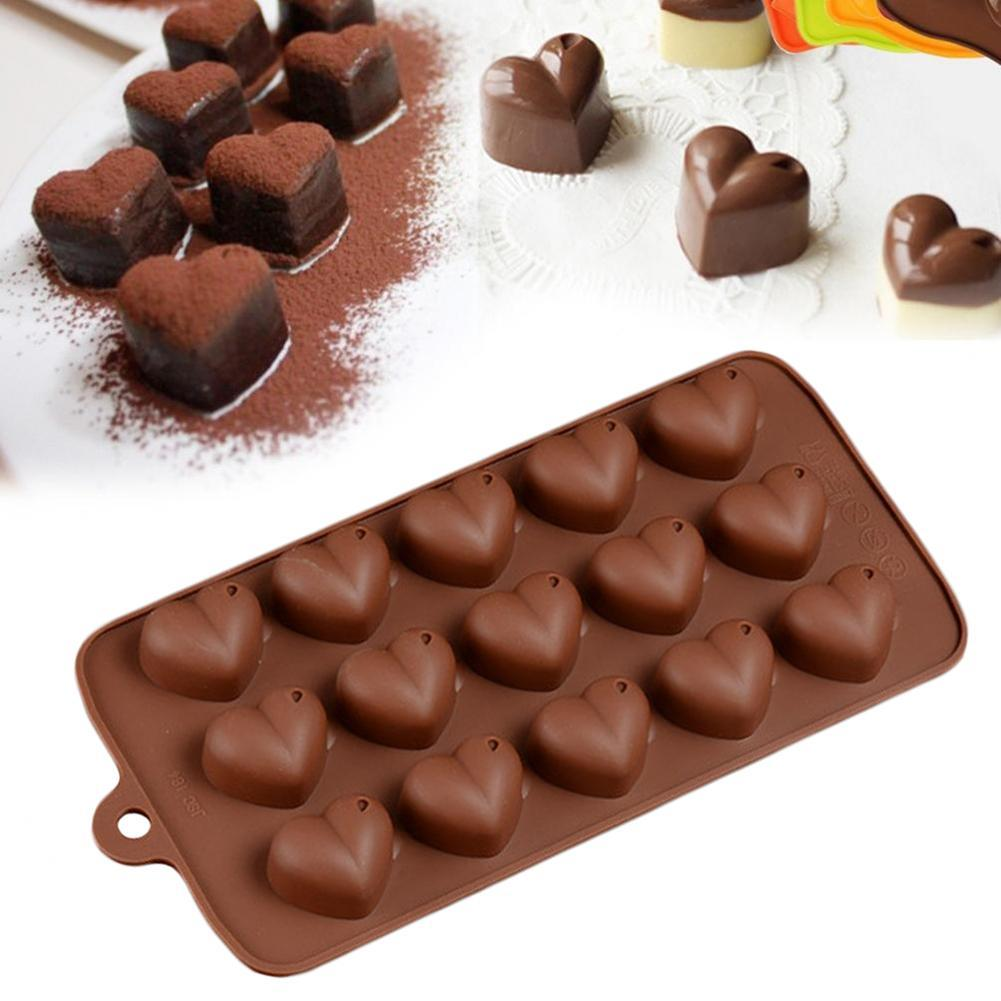 Details about  /Chocolate Mold Mould Bar Block Ice Cake Candy Baking Heart ShapL0Z0 15Grid O4Q4