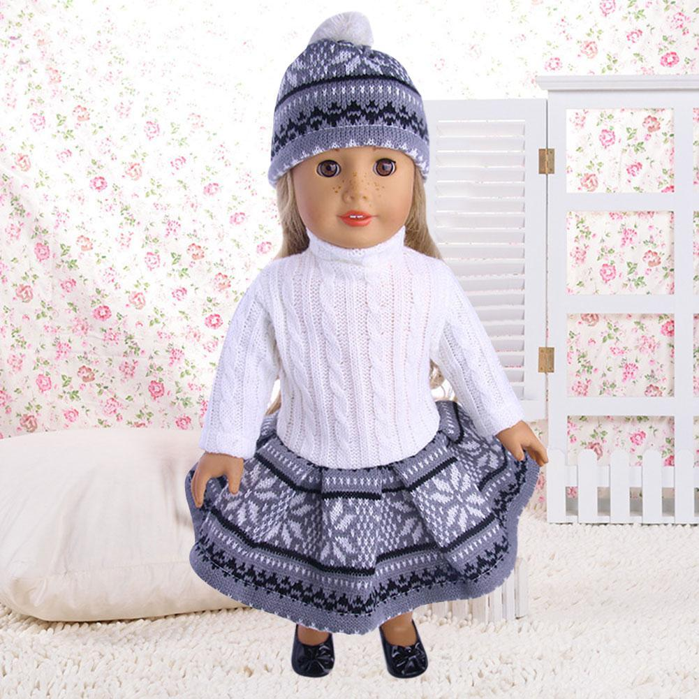 For 18 Inches Girl Our Generation Doll Sweater Dresses Set Hat N3S6