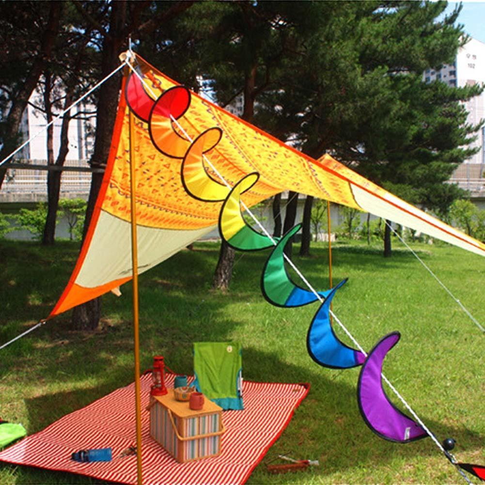 Faltbare Bunte Windmühle PVC Regenbogen-Spirale Wind Camping Spinner-Zelt-D X3I2