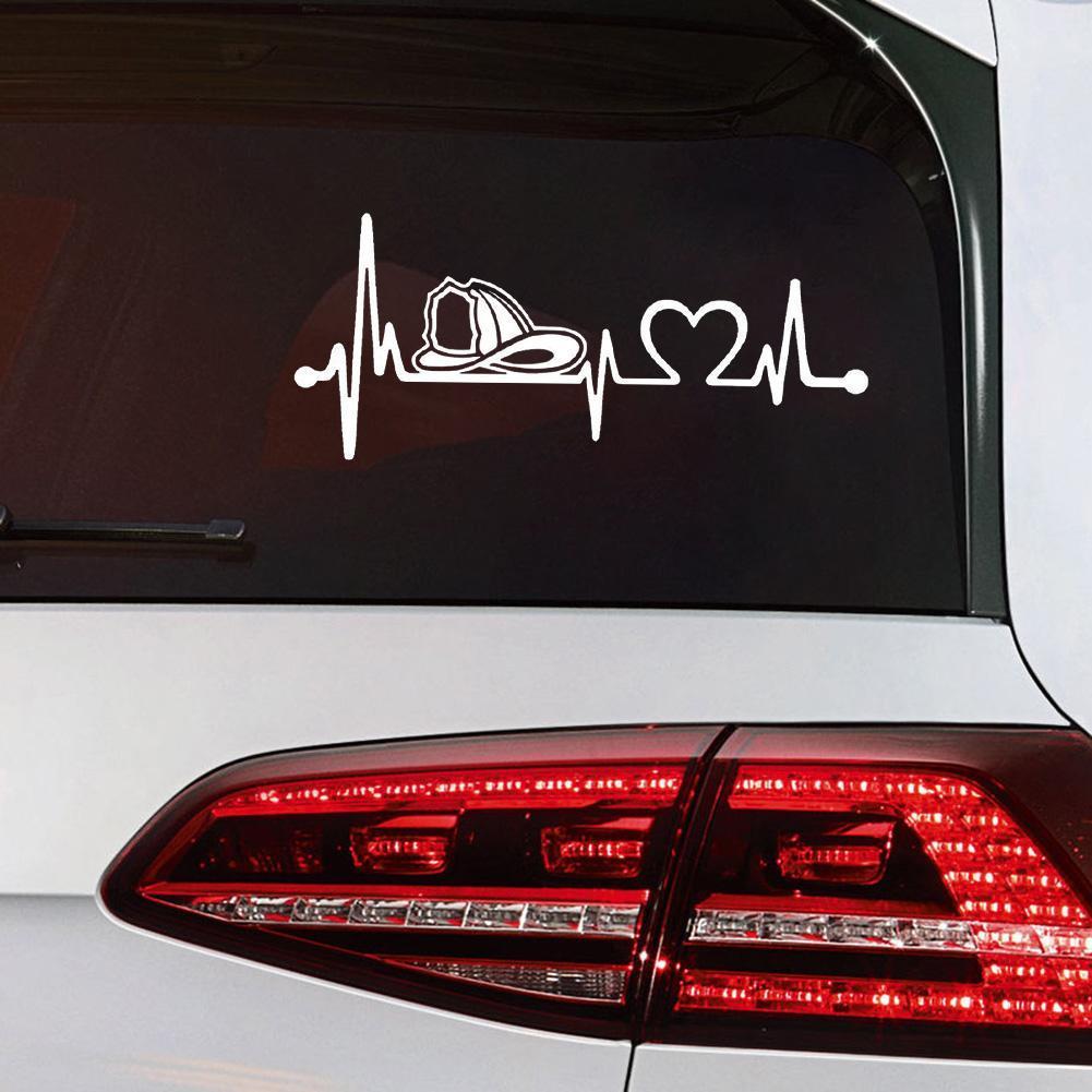 Firefighter Firemen Helmet Heartbeat Lifeline Monitor Decal Sticker 18.0cm*7.8cm
