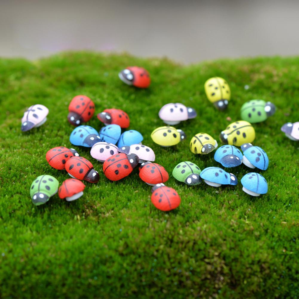 100Pcs Mixed Mini Ladybird Multi-Color Wooden Ladybugs Micro Landscape Decor PRO