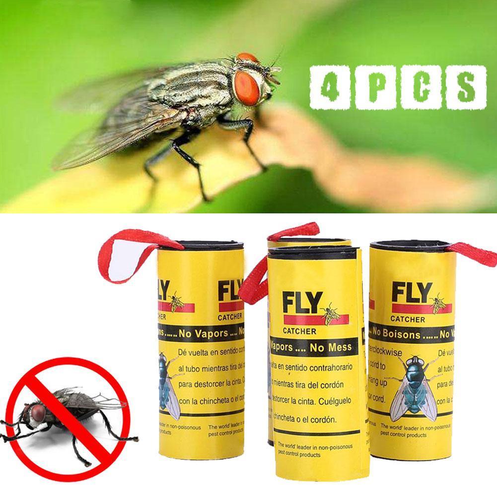 4x insekt bug fly papier catcher trap band streifen sticky. Black Bedroom Furniture Sets. Home Design Ideas