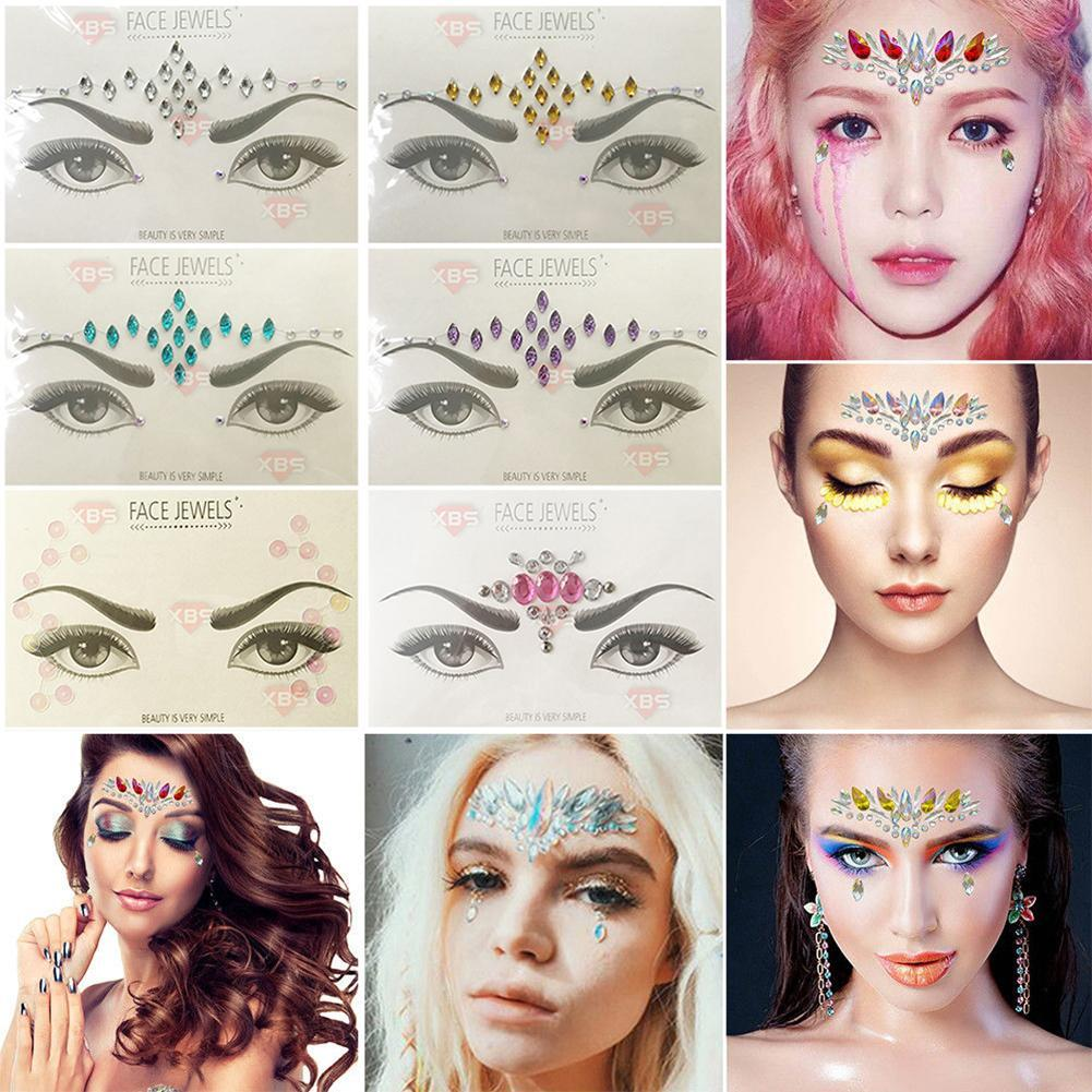 Details about Glitter Jewel Adhesive Tattoo sticker Sticky Face Gems  Wedding Party-Body-Makeup 337ca7ecbb21