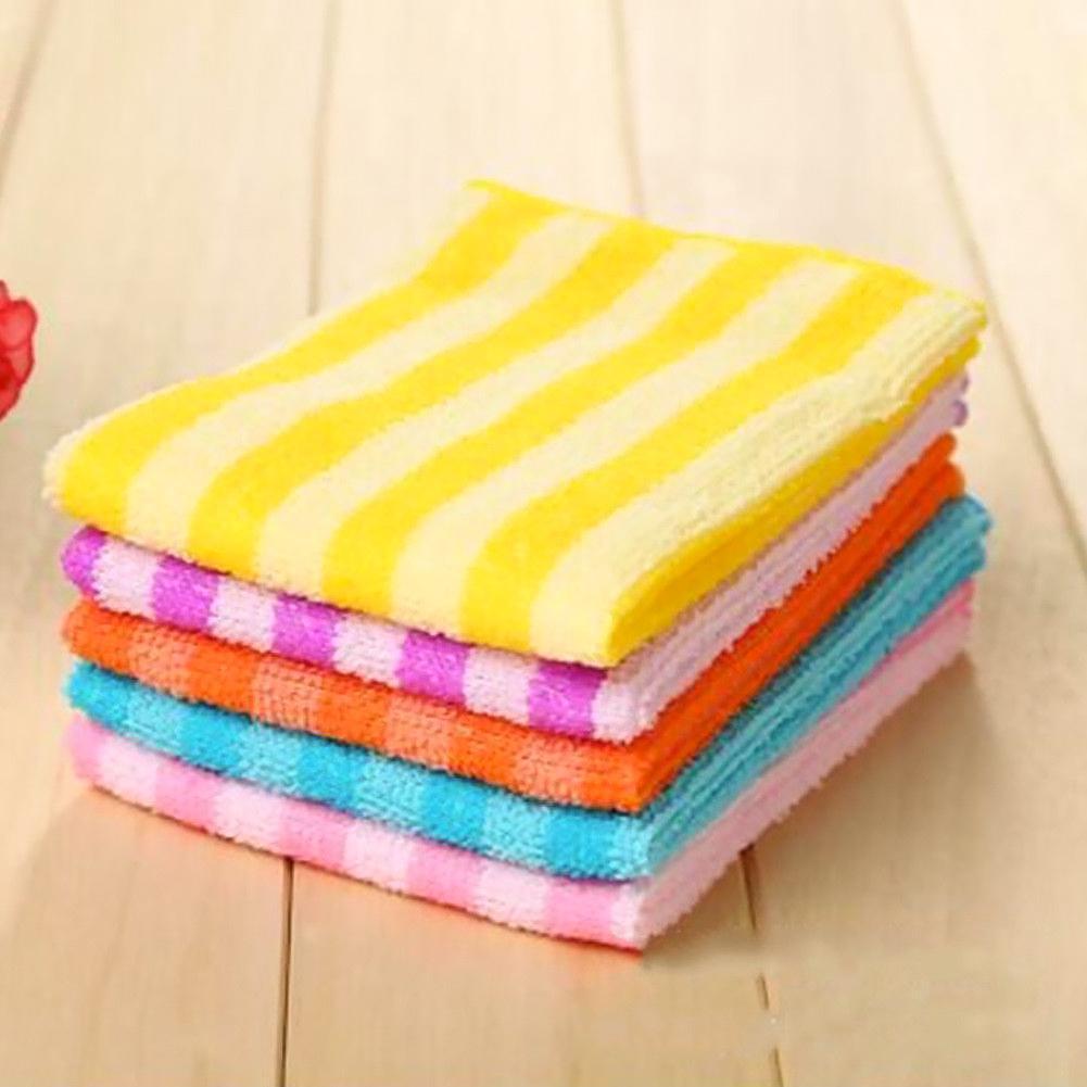 5PCS Microfiber Dishcloth Square Kitchen Washing Cleaning Towel Cloth Dish B3V6