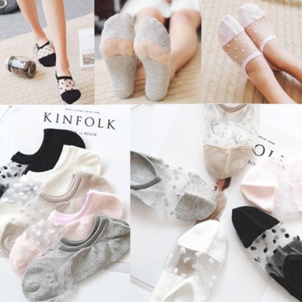 1 Paar Frauen Kristall Ultra dünne Glas Seide Spitze Sommer Unsichtbare Socken
