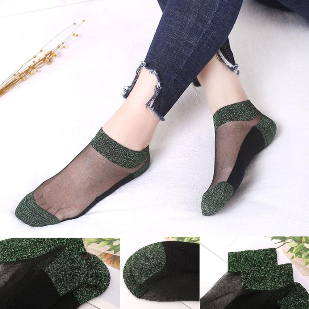 Girl Vintage Sheer Mesh Lace Dots Knit Flower Frill Trim Ankle Socks-Gifts