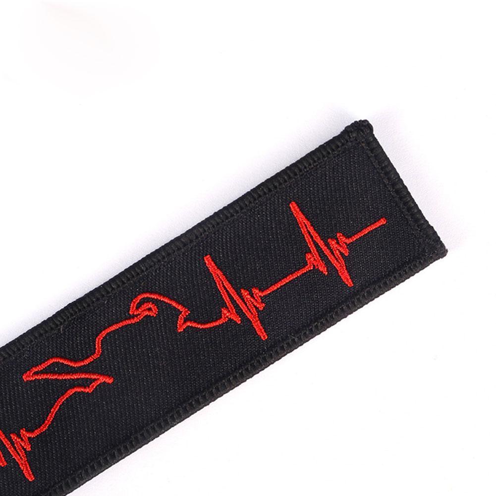 Schlüsselanhänger EKG Muster schwarz rot Stickerei Motorrad Schlüsselbund A5L5