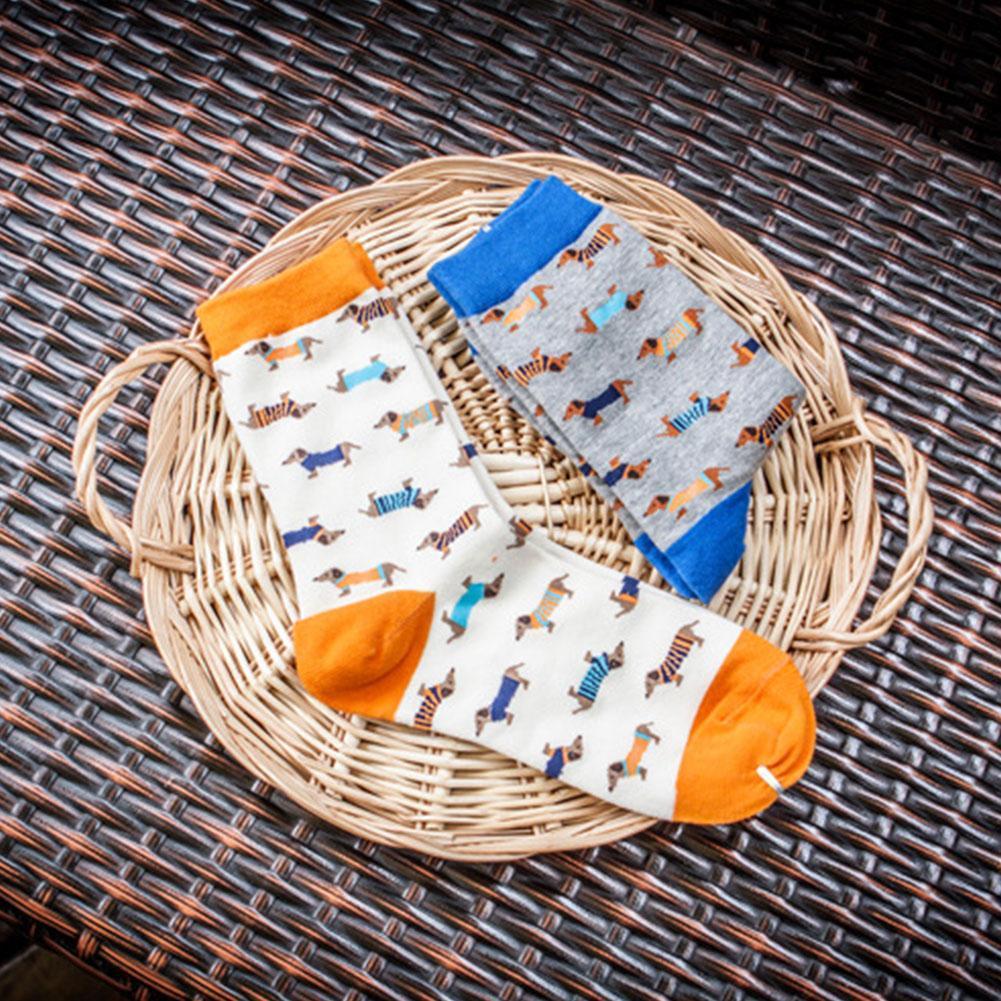 1 Paar Frauen Nette Dackel Hund Socken Gekämmte Baumwolle Crew Tiersocken* Z4H1