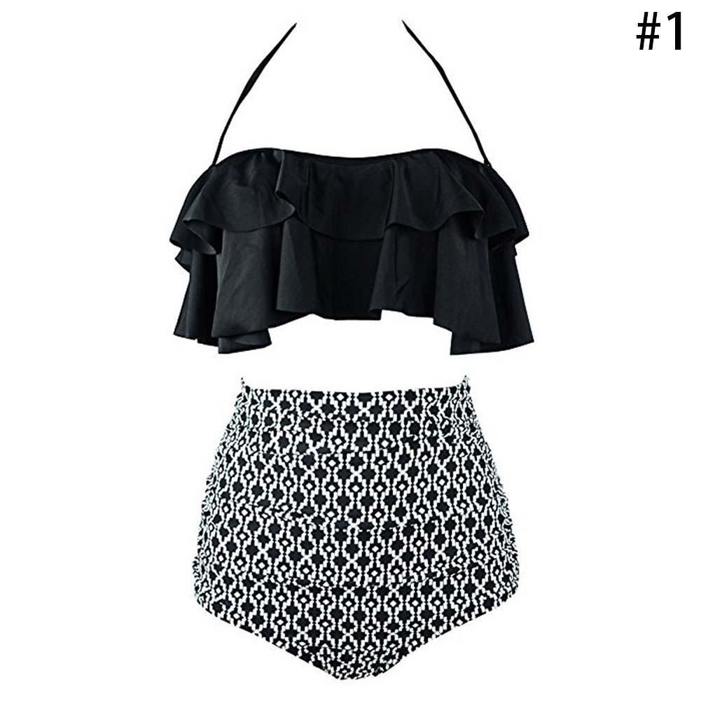 d41a4f5146 Details about Sexy Women's Retro Boho Flounce Falbala High Waist Bikini Set  Beach Swimsuit
