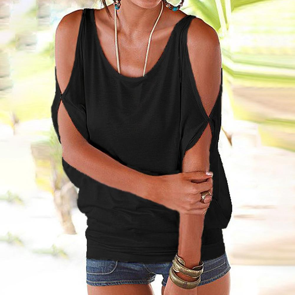 f9f703f6e14d3 Details about Womens Cold Shoulder Ladies Summer T Shirt Loose Casual Tops  Blouse Top