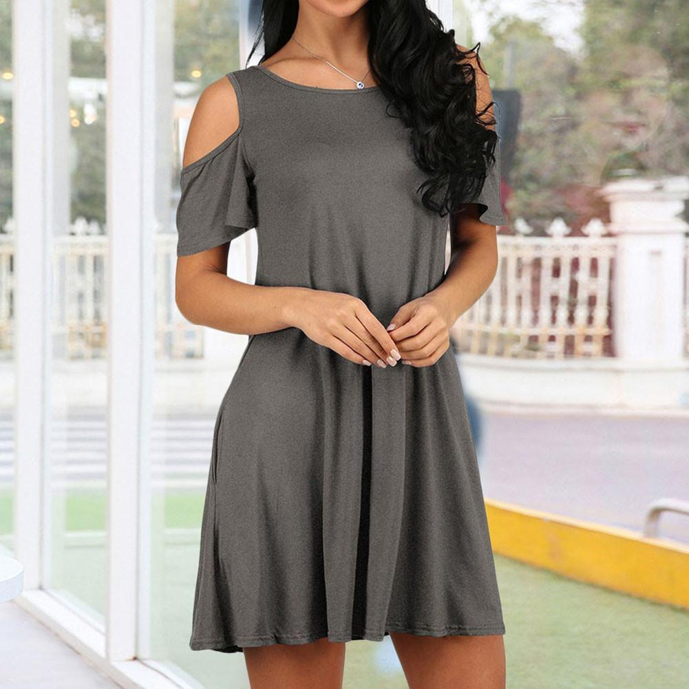 c816d387efb6 Details about Womens Cold Shoulder with Pockets Casual Short Sleeve Swing T  Shirt Dress New
