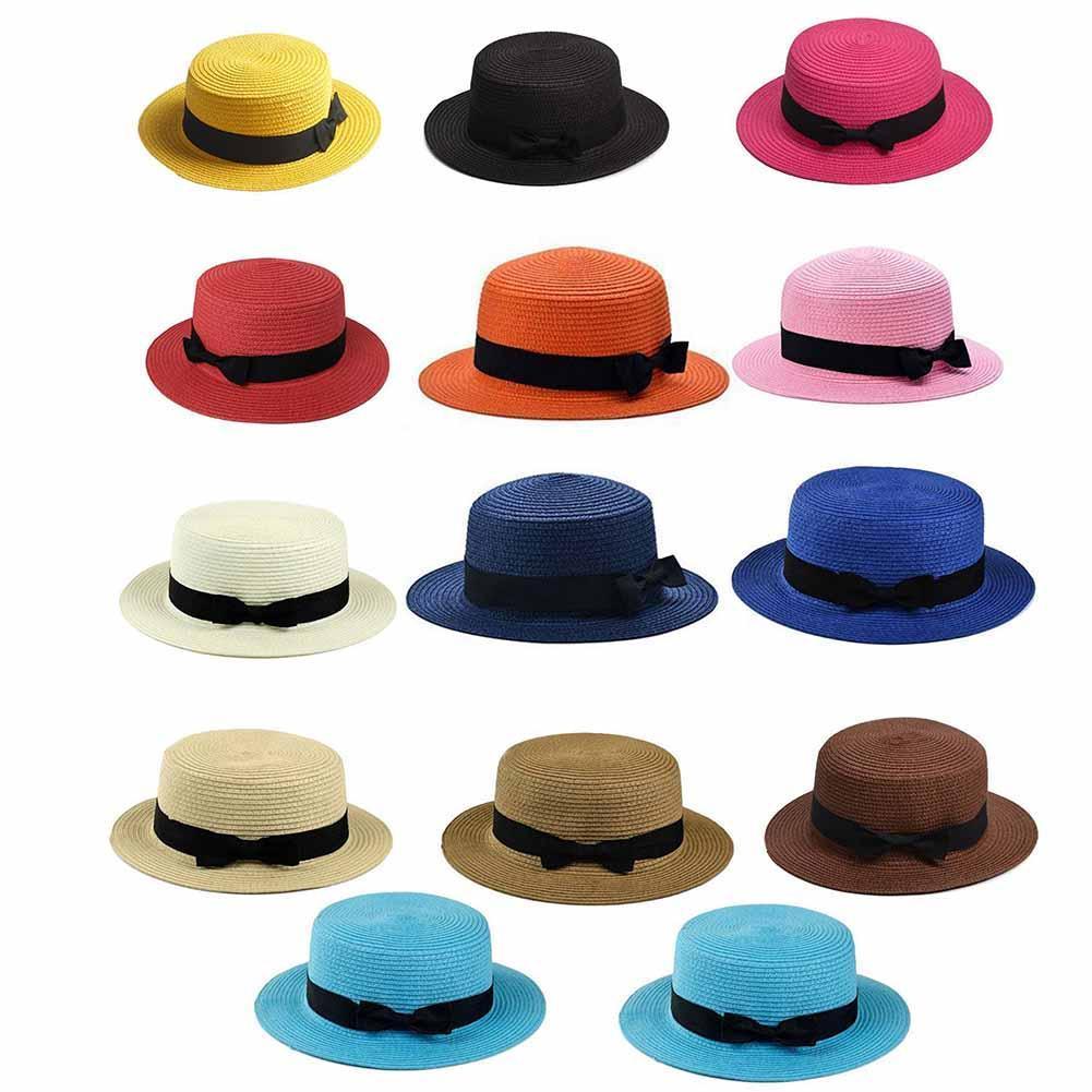 2ed29776b Details about Women Summer Beach Sun Hats Flat Top Straw Hat Boater Hat