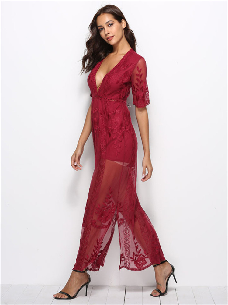 afdec719476 Women s Sexy Short Sleeve See Through Deep V Neck Lace Romper Long ...