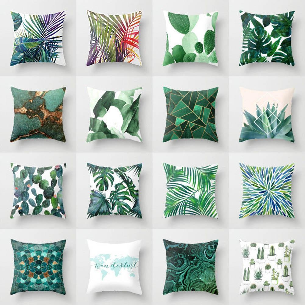 tropical home decor uk tropical green plant leaves flower linen cushion cover pillow case  linen cushion cover pillow case