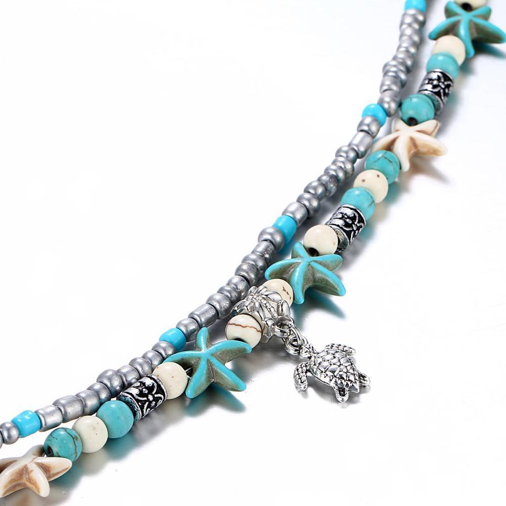 Vintage Shell estrellas De Mar Perlas Pulsera Hecha a Mano jewelr Pulseras varias capas
