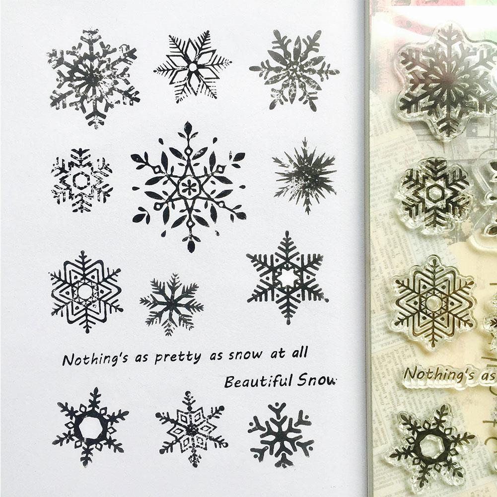 Snowflake Transparent Silicone Clear Rubber Stamp Cling Diary Cards Scrapbo S0Y4