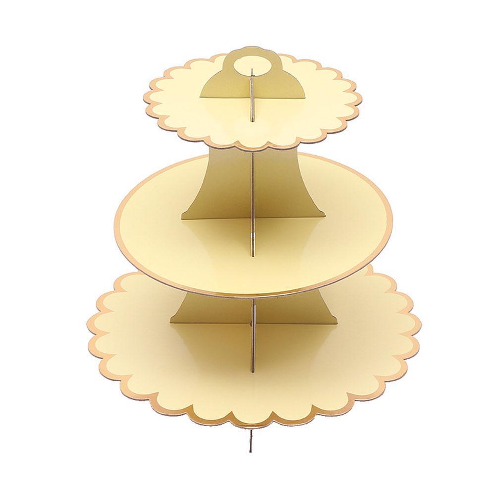 3 Tiers Cake Holder Cardboard Cupcake Plates Paper Stand Birthday ...