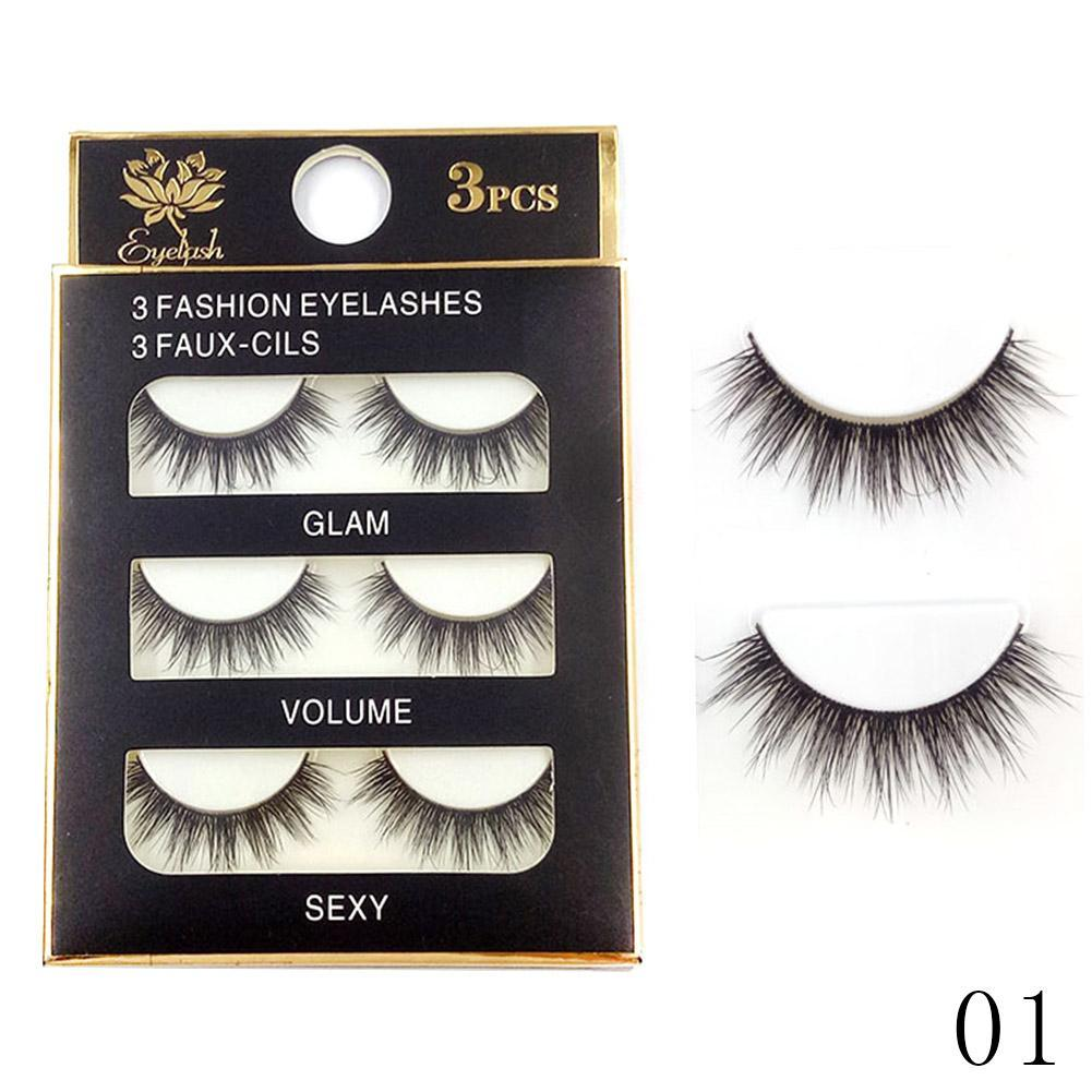 ae7f1322917 3Pairs Handmade Black Messy Eye Lashes Make Up 3D Natural Soft Mink Fur Thick  Long Cross False