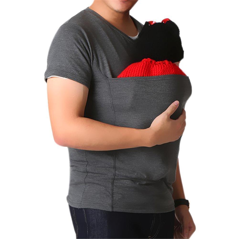 Mens Dad Baby Carrier T Shirt Wrap Maternity Kangaroo Bag Care 2 Colors Kingdom Mesenger M L Xl Preview