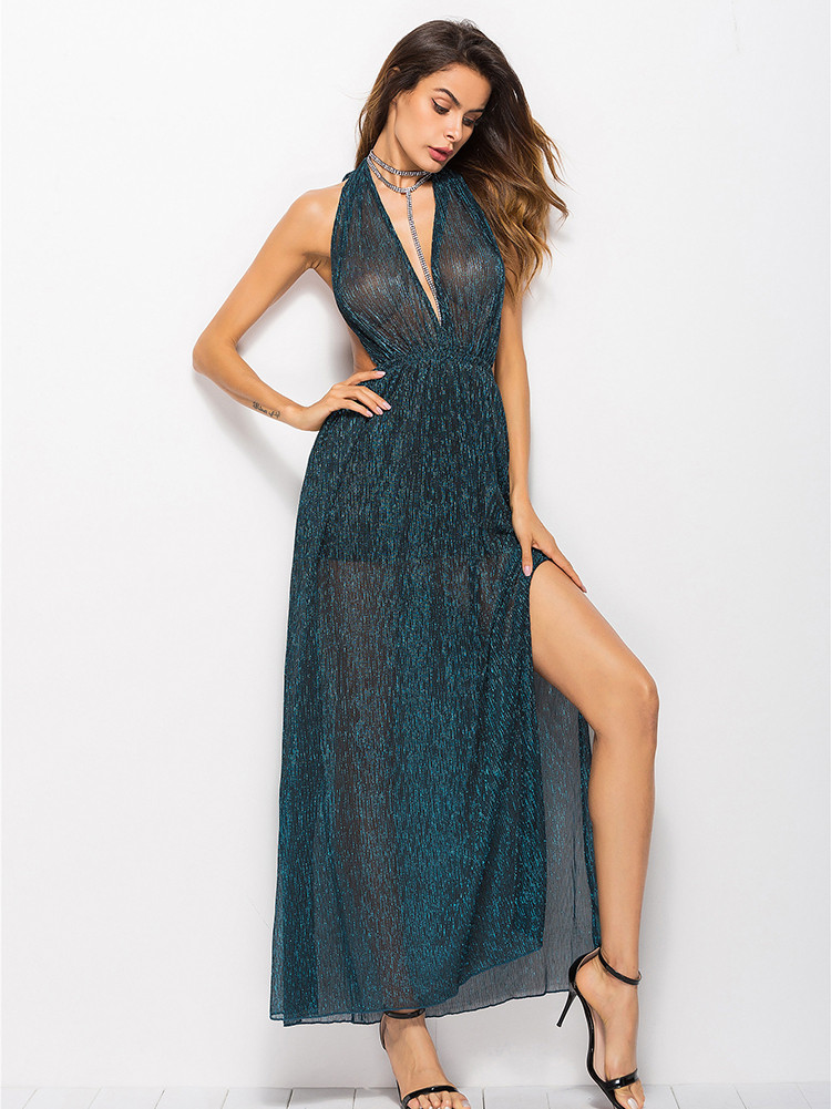 Deep V Neck Halter Party Dress Sleeveless Transparent Maxi