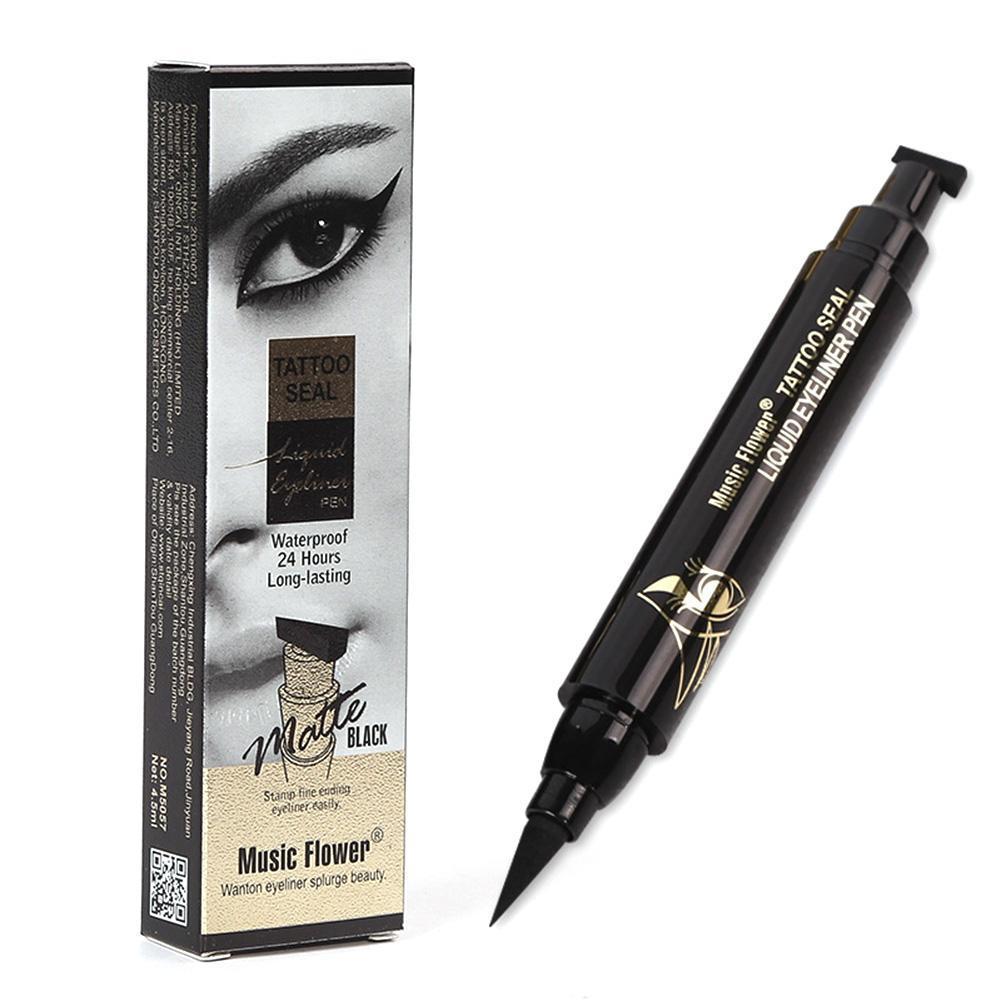 Beauty Essentials Eyeliner Music Flower Brand Eyes Makeup Tattoo Seal Liquid Eyeliner Pen Waterproof Matte Black Stamp Wanton Eye Liners 24hr Long-lasting