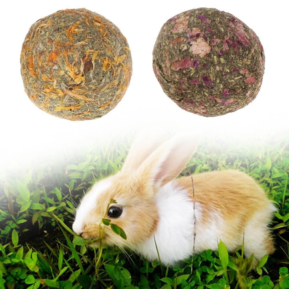 2pcs Pet Teeth Grinding Ball Natural Grass Toys For Guniea Pig Rabbit Chinchilla