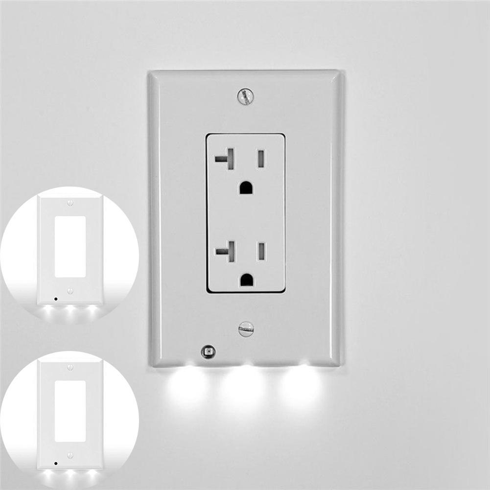 Details About Wall Outlet Cover Plate Plug Led Lights Hallway Bathroom Safty Light 3