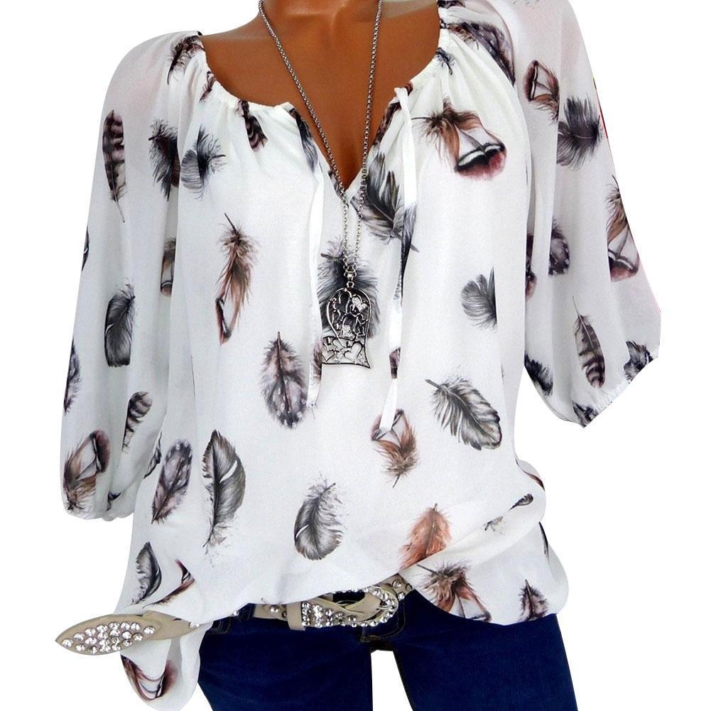 Plus Size Damen Casual T-Shirt Lange Ärmel Schulterfrei Lose Tops Bluse-New