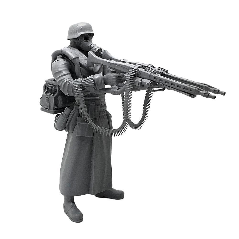 1//35 Deutscher Super Double Gun Resin Soldat