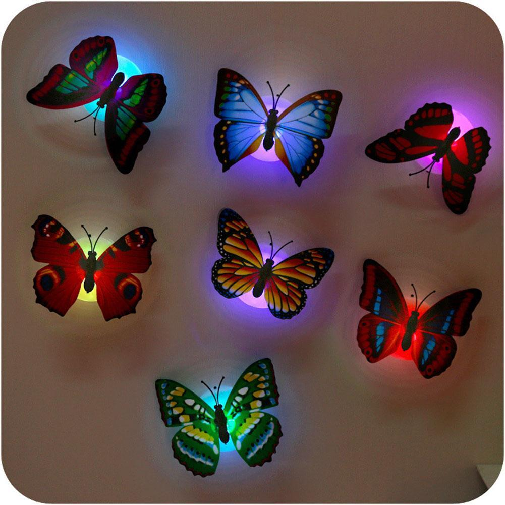 5pcs Colorful Changing Butterfly LED Night Light Lamp Home Room Party Wall Best