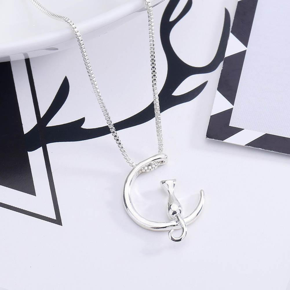 Feine Silber Katzen Mond Anhänger Charme Kette Halskettene Frauen Prof