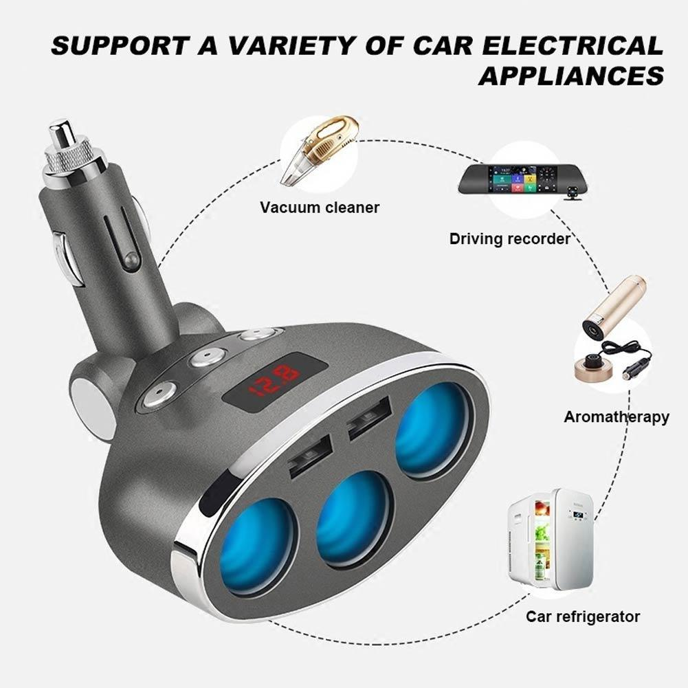 Triple Evaporator Car Cigarette Lighter Dual Usb Portc120w Universal Adapter Wiring Schematic Plug Charge Shop Ezbuy Singapore