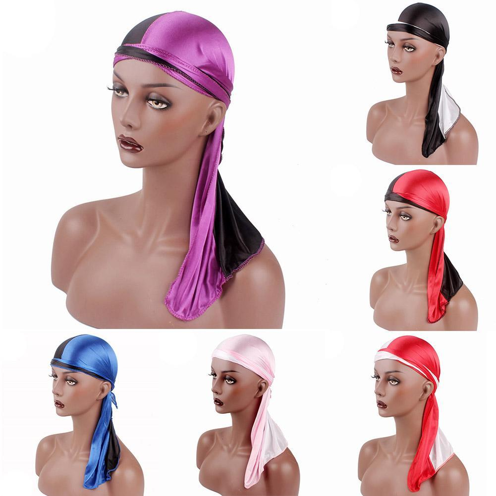 Super Solid Fashion Women Men Silky Durag Head Wrap Cap Summer Bandannas Rag Hat