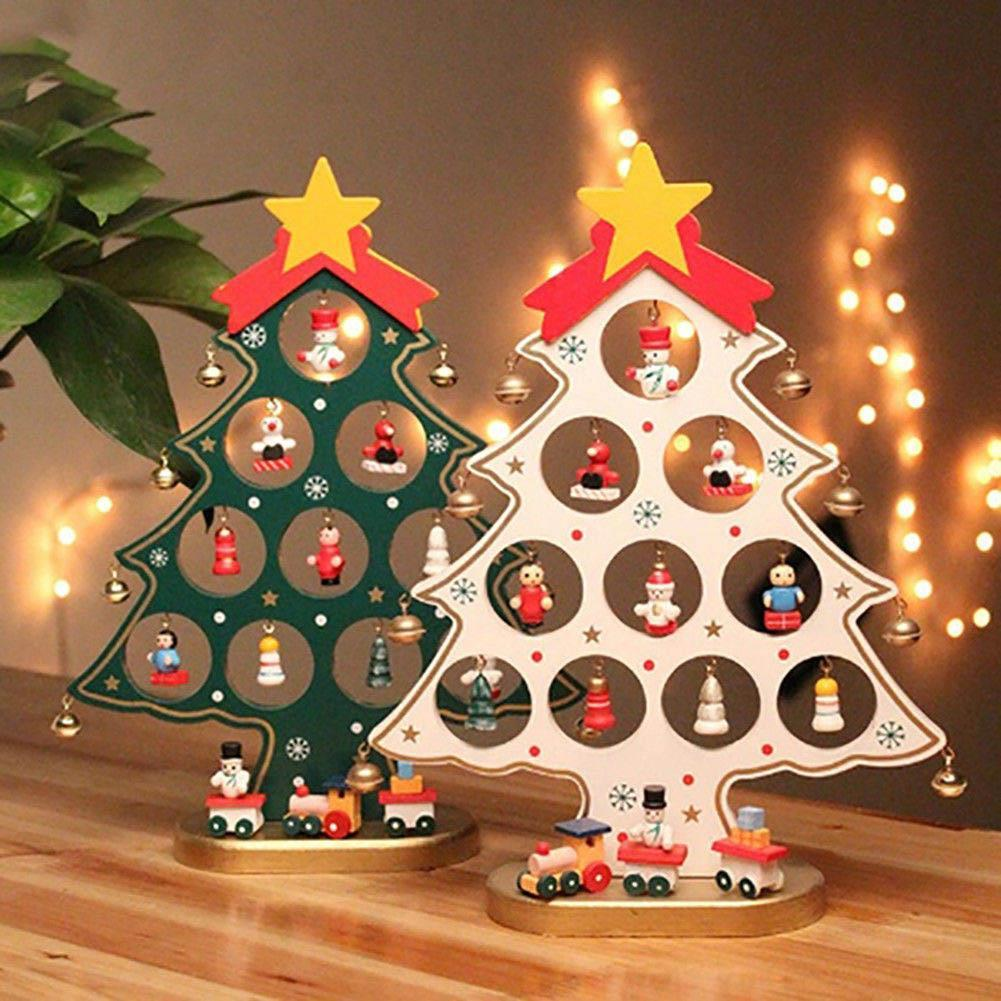 Wooden Christmas Tree Decor Table Party Ornament Diy Xmas Gift