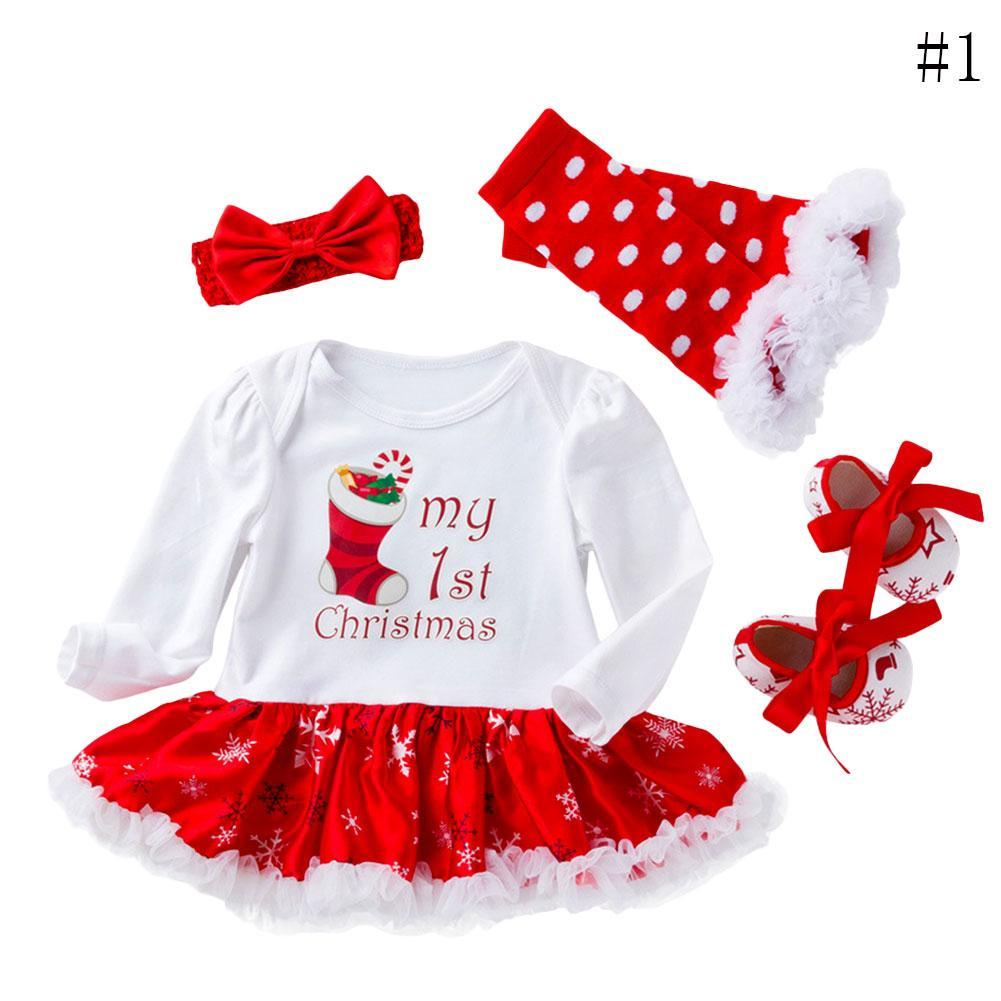 2018My First Christmas Infant Baby Girl Tutu Set Romper Sequined ...