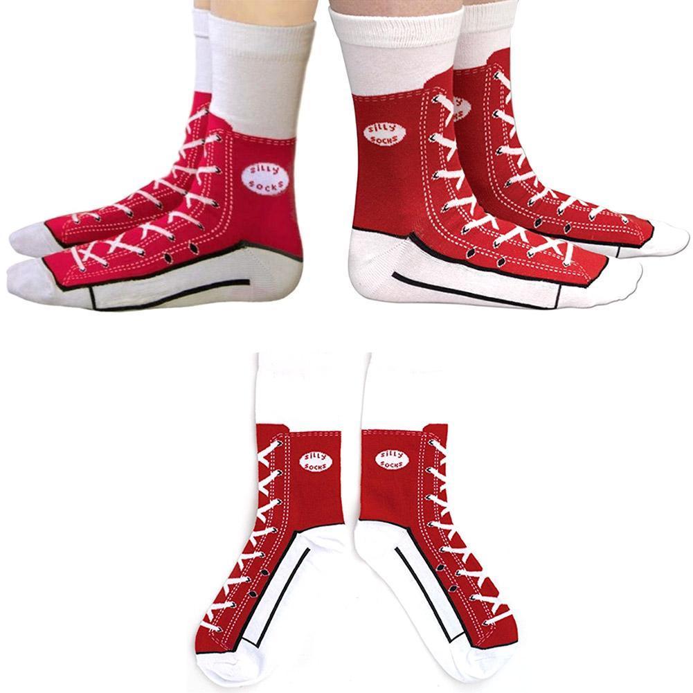 Damen 3D Schuhe Drucken schicke warme Socken Neuheit Mid Lange Socken