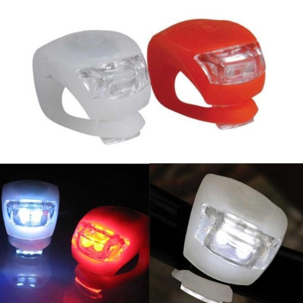 LED Bicycle Bike Cycling Silicone Head Front Rear Wheel Safety Light Lamp H #z