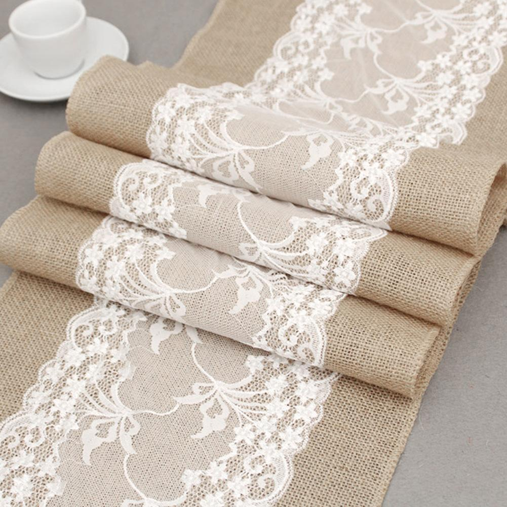 big discount fantastic savings really cheap Details about 30x275cm Table Runners Lace Runner Natural Burlap Rustic  Wedding-Jute