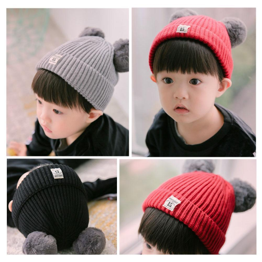 0b88f1a3fbe Details about 5 colors-Baby Knit Wool Pom Bobble Hat Kids Girls Boys Winter  Warm Beanie Cap