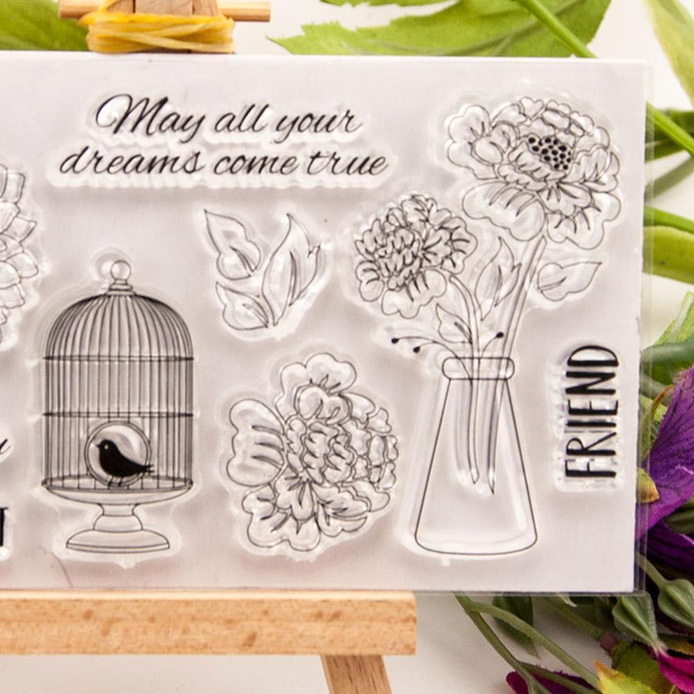 Handgemachte Vase klarer Silikon Stempel DIY Scrapbook Fotoalbum Dekor Hand X8S2