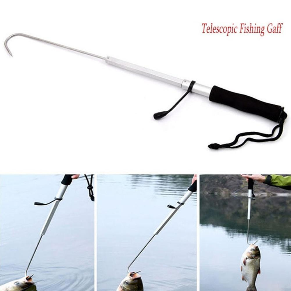 Telescopic Retractable Fish Gaff Stainless Steel Sea .Fishing Spear Hook