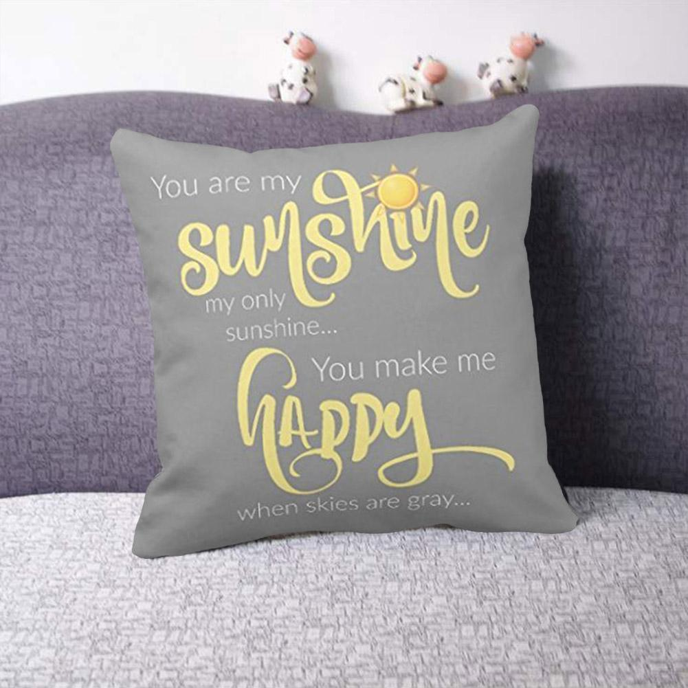 Cotton Linen YOU ARE MY SUNSHINE Home Decor Throw Pillow Case Sofa Cushion Cover
