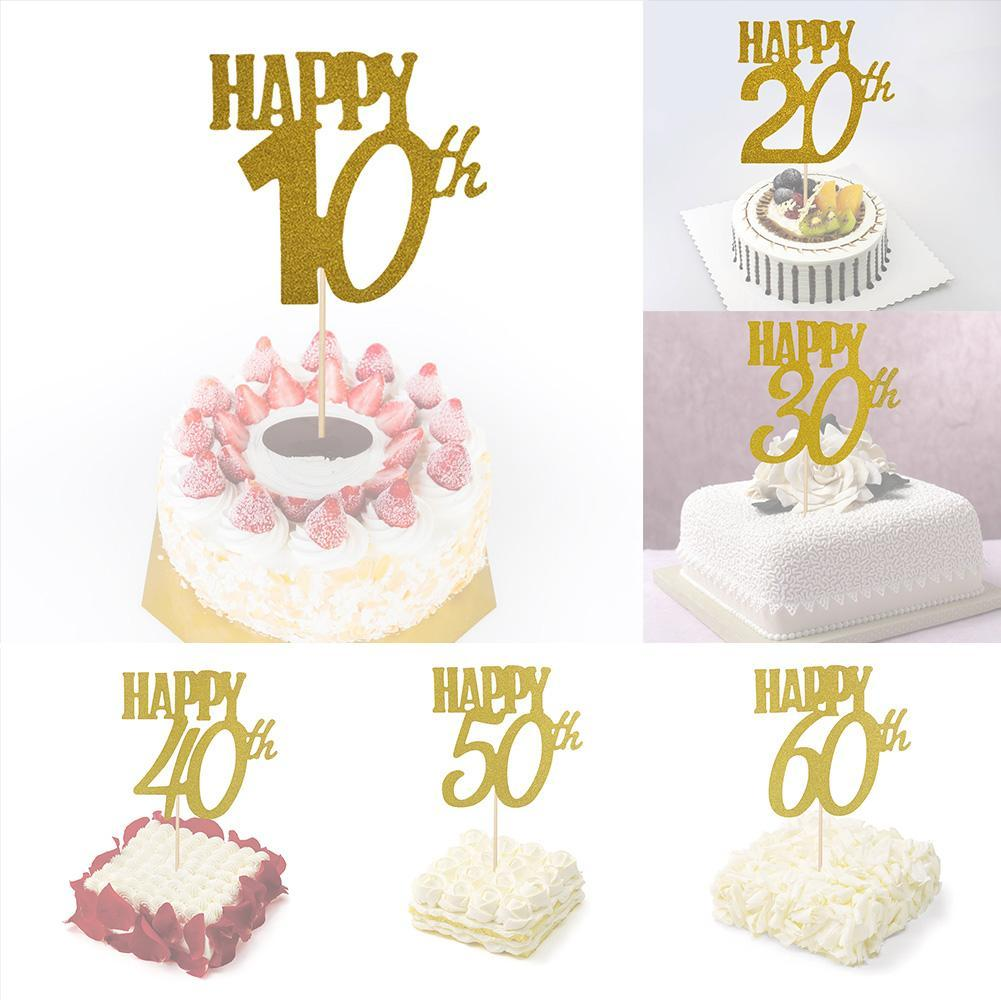 Details About Glitter Cake Topper 10th20th30th40th50th60th Age Decor Happy Birthday
