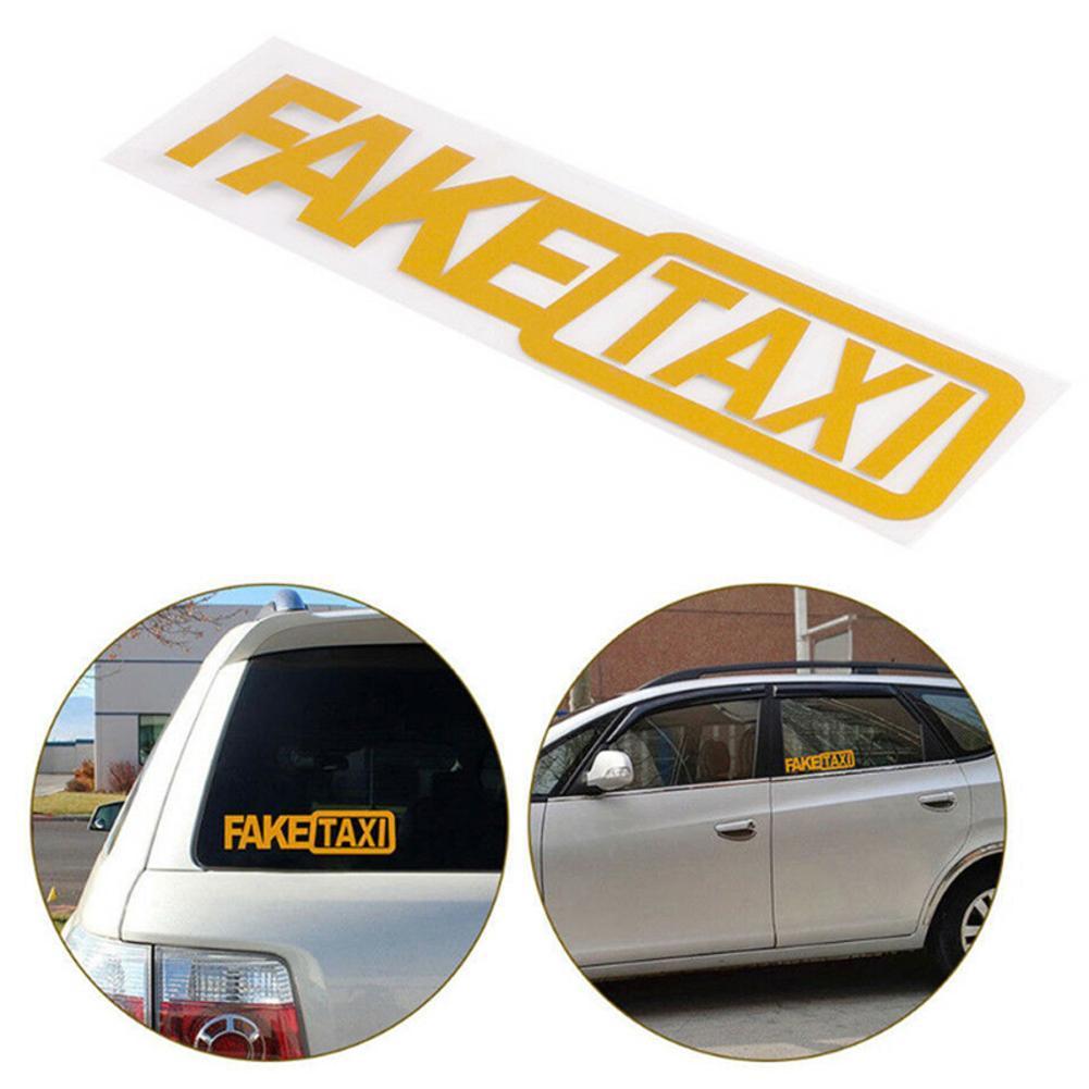 5pcs FAKE TAXI FakeTaxi Car Auto Van Vinyl Funny Sticker Decal Decoration Yellow