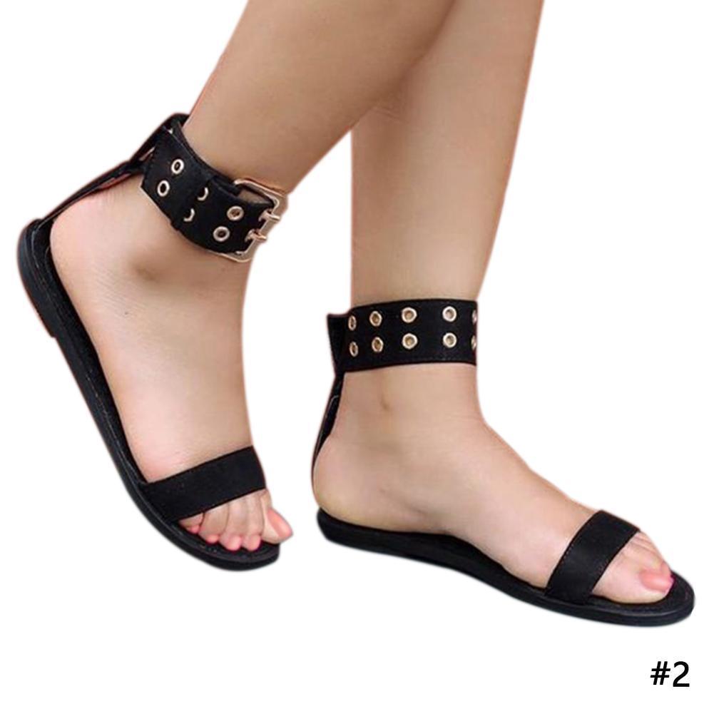 US Size 5 12 Roman Hollow Out Zipper Peep Toe Flat Sandals