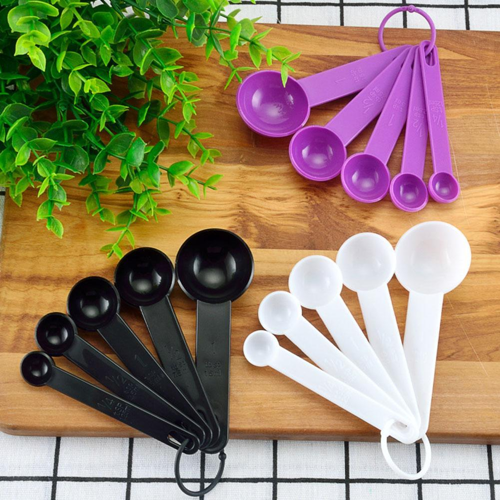 5Pcs Measuring Spoons Plastic Kitchen Utensil Cooking Baking Tool Teaspoon