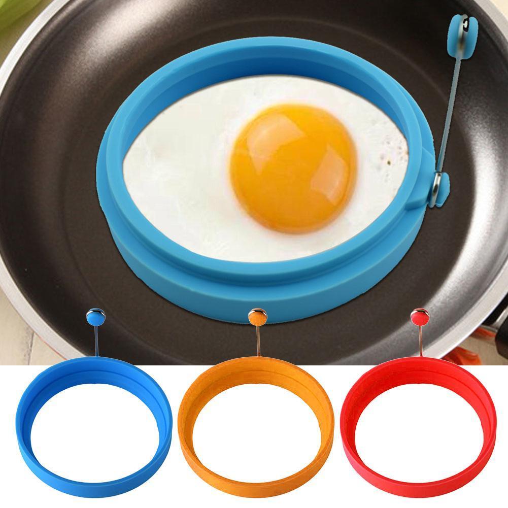 Silicone Round Egg Rings Pancake Mold Ring W// Handles Pan Frying Fried Nons J3O9